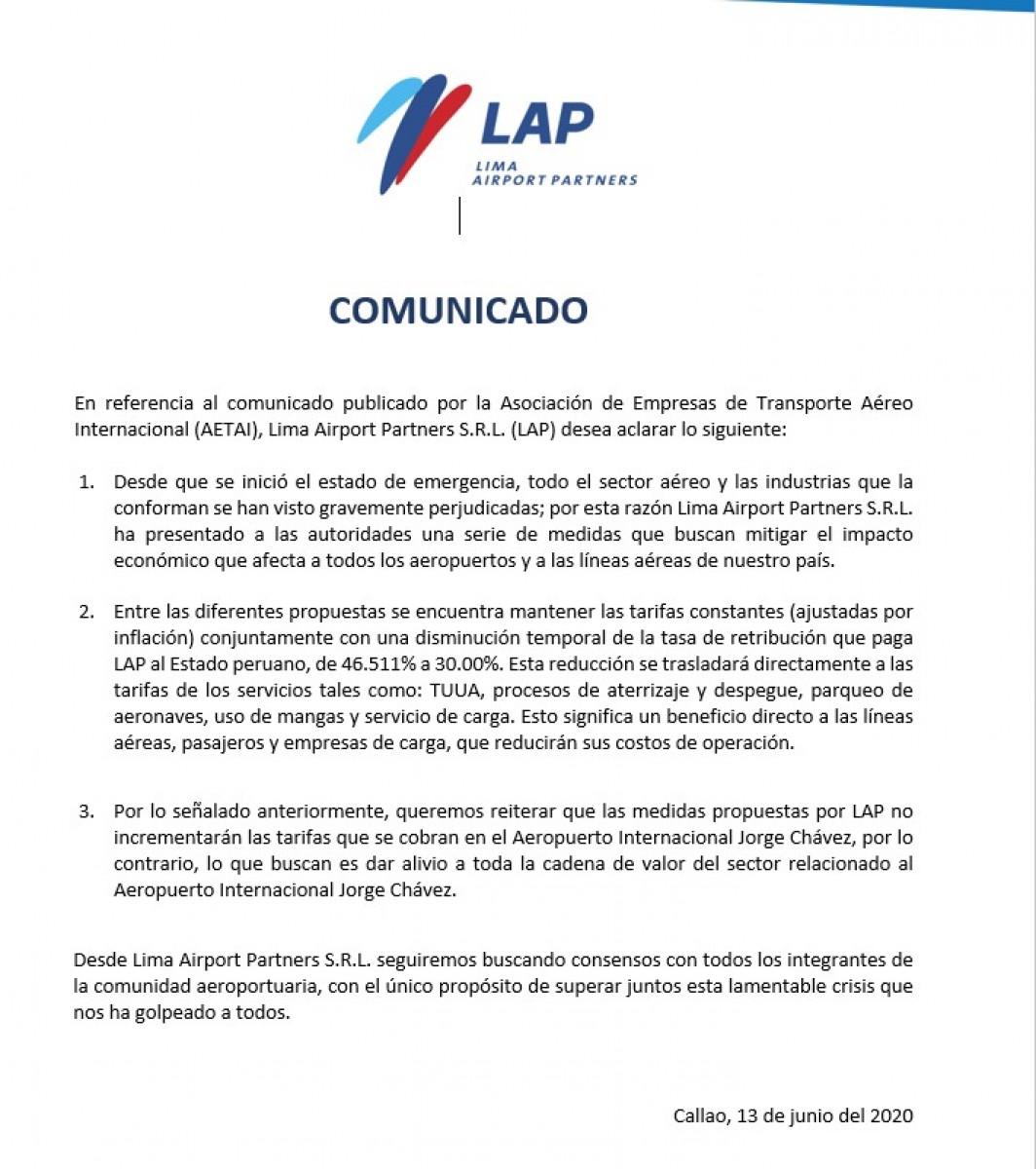 Comunicado de LAP